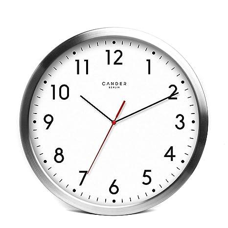 Reloj de pared de aluminio, silencioso, 30,5 cm, de la marca