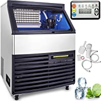 VEVOR 110V Commercial Ice Maker Stainless Steel Portable Automatic Ice Maker Machine Built-In Ice Making Machine Auto Clean for Home Supermarkets