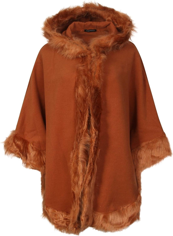 MINNI ROSSA Womens Ladies Fur Trim Wool Lana Cape Shawl Italian Quirky Layering Hooded Poncho Casual