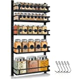 Spice Rack Organizer Wall Mounted, G-TING 5 Tier Height-adjustable Hanging Spice Shelf Storage with 5 Hooks, Dual-use Large S