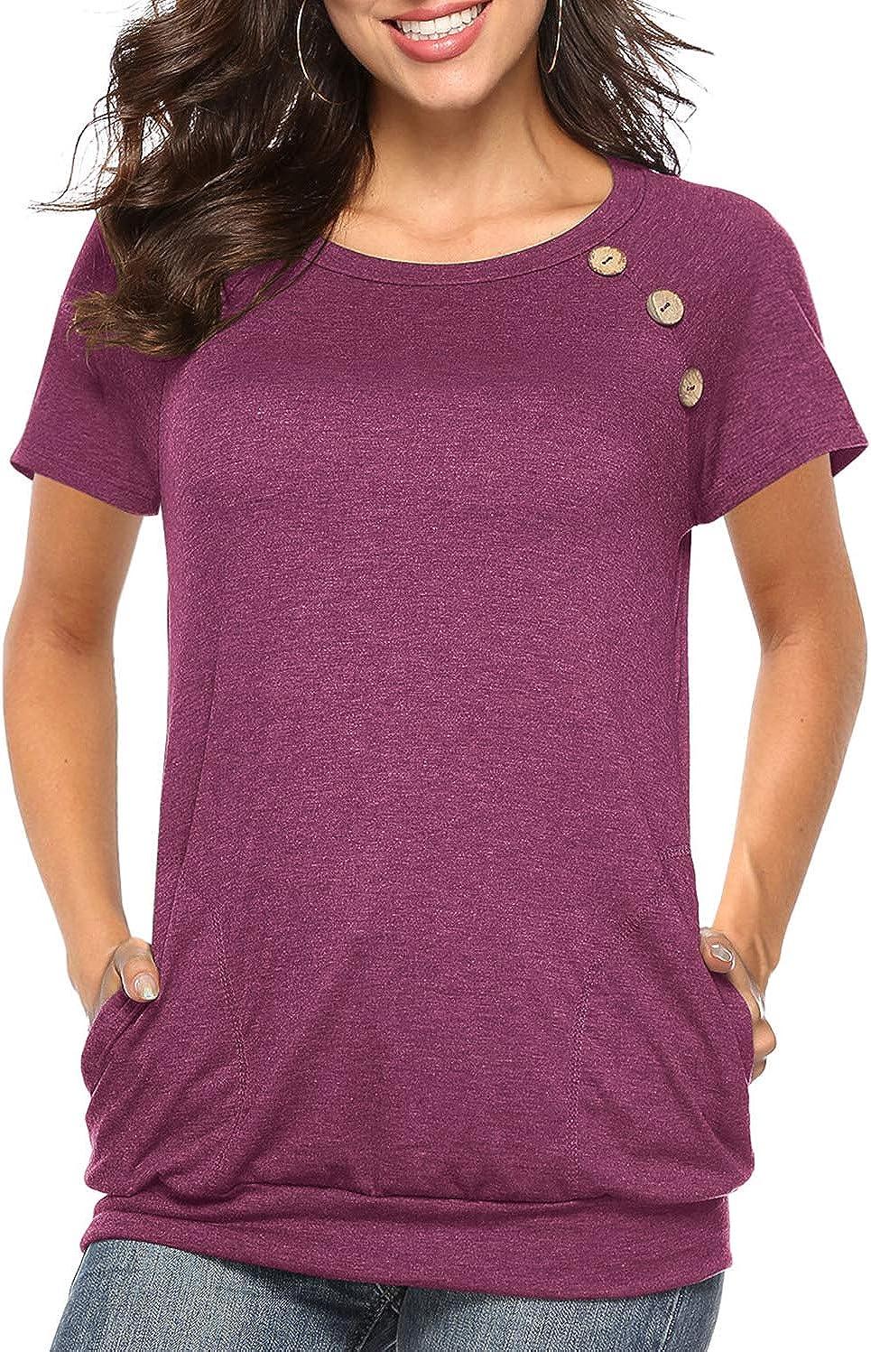 Martiount Femme Col Rond T Shirt /à Manches Courtes//Longues Couleur Unie Tunique Plaine Mode Bouton Tops avec Poches