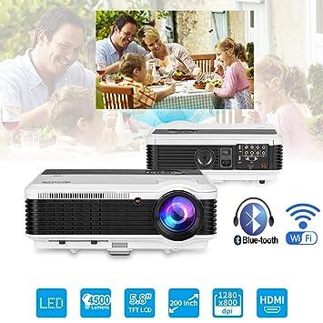 Inalámbrico HD LED Bluetooth Proyector 4500 lúmenes Android LCD Wifi Bluetooth Proyector WXGA 1280x800 Multimedia Inicio Proyector exterior para películas ...