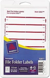 Avery 05201 Print or Write File Folder Labels, 1/3 Cut, Dark Red Bar, 252/Pack