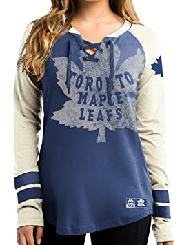 timeless design a723d 6d55a Toronto Maple Leafs Women's NHL Majestic Vintage Hip Check Lace Up V-Neck  Shirt