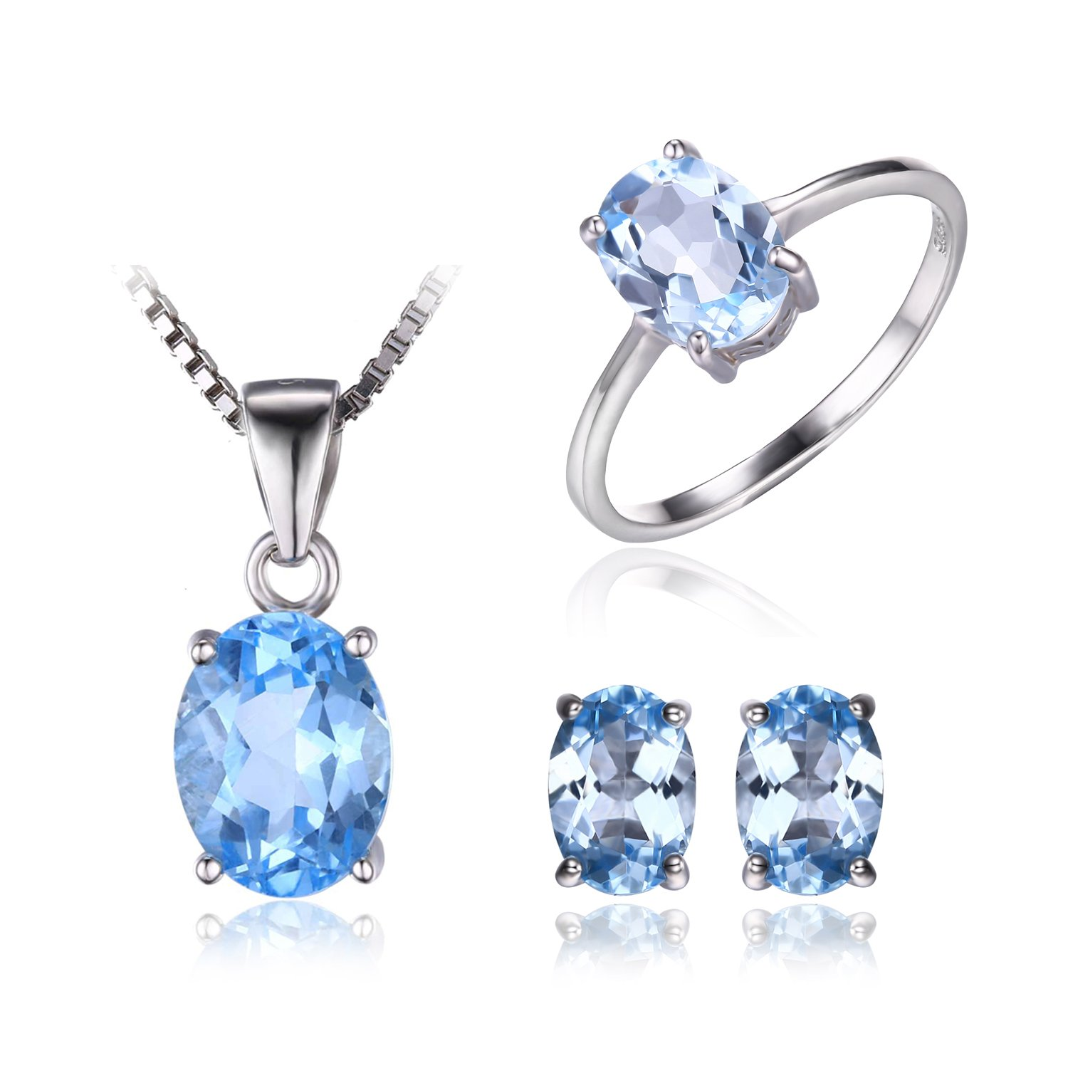 JewelryPalace Sky Blue Topaz Sets Ring Stud Earrings Pendant Necklace 925 Sterling Silver Size 8