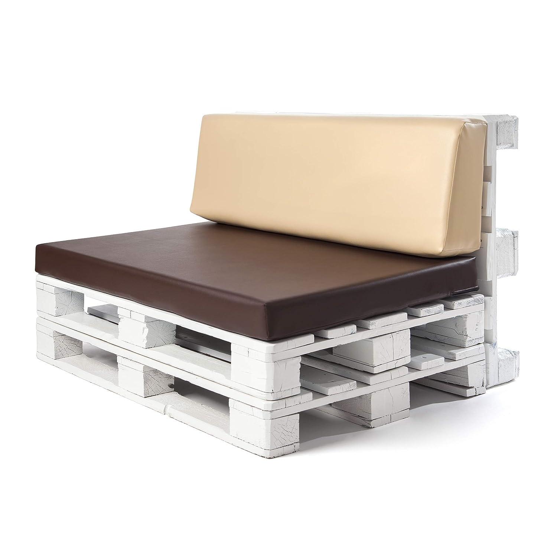 Conjunto colchoneta para sofas de palet Chocolate y respaldo Beige (1 x Unidad) Cojin relleno con espuma. | Cojines para chill out, interior y ...