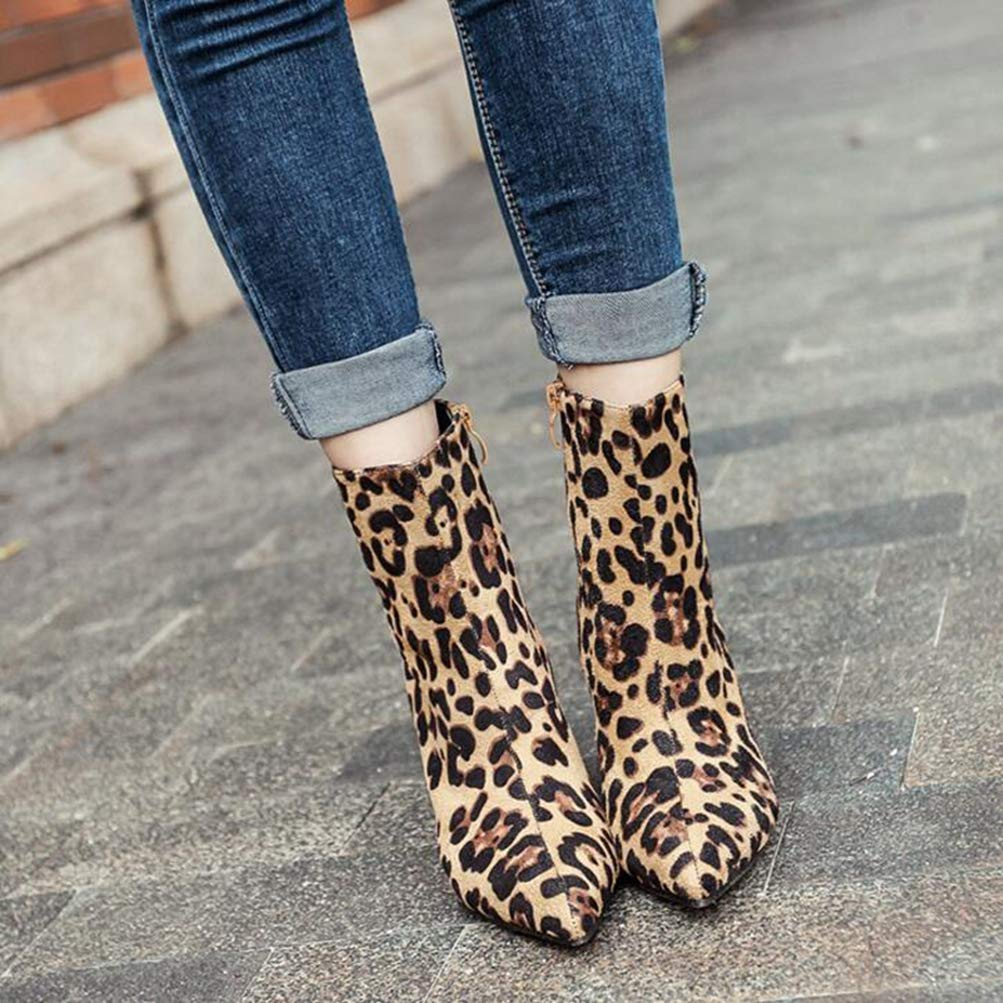T-JULY Fashion Leopard Print Womens Mid Calf Boots Zip Pointed Toe Shoes High Heels Females Botas