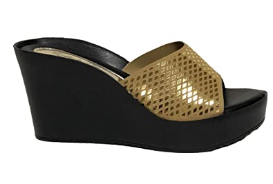 eeb9e16048ab Italina by Summer Rio Black Gold Wedge Slides Slip on Heels Sandals Shoes  (6.5