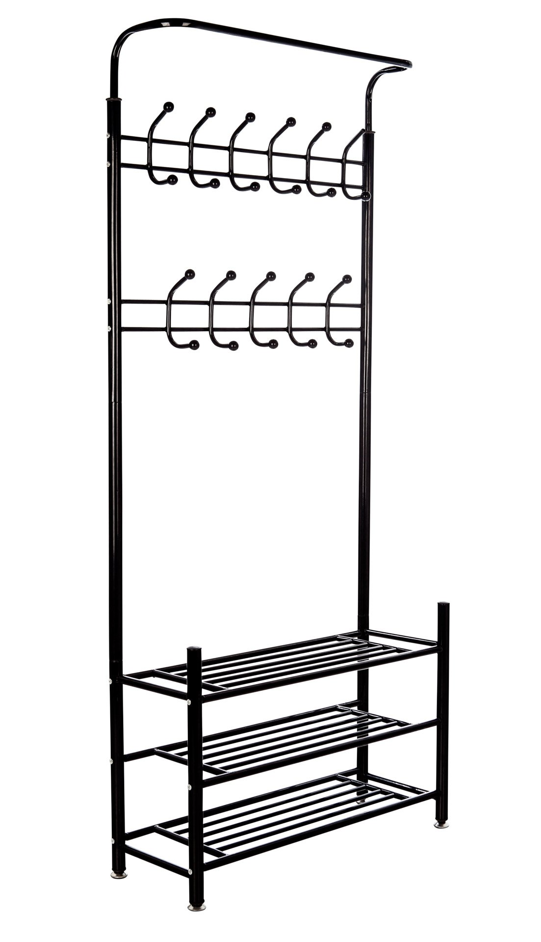 M.S.PREMIUM Metal Coat Rack and Shoe Organizer for Entryway - Hang Your Coats, Hats, Umbrellas, Bags, Boots and Shoes on This Heavy Duty, Durable Metal Coat Stand for a Tidy Hallway Always - Black - Help Organize Your Active Life: People are always on the go, coming and going. Wouldn't it help to have shoes and coats right there where you need them? Grab and Go Utility: Coats, keys, dog leashes, shoes, backpacks, hats, a scarf – keep all those and more hanging immediately to hand Steady, Heavy Duty Helper: Each hook holds up to 5.5 lbs. Go ahead, toss that heavy coat up, this sturdy steel rack won't wobble! - hall-trees, entryway-furniture-decor, entryway-laundry-room - 71vArZJ fiL -
