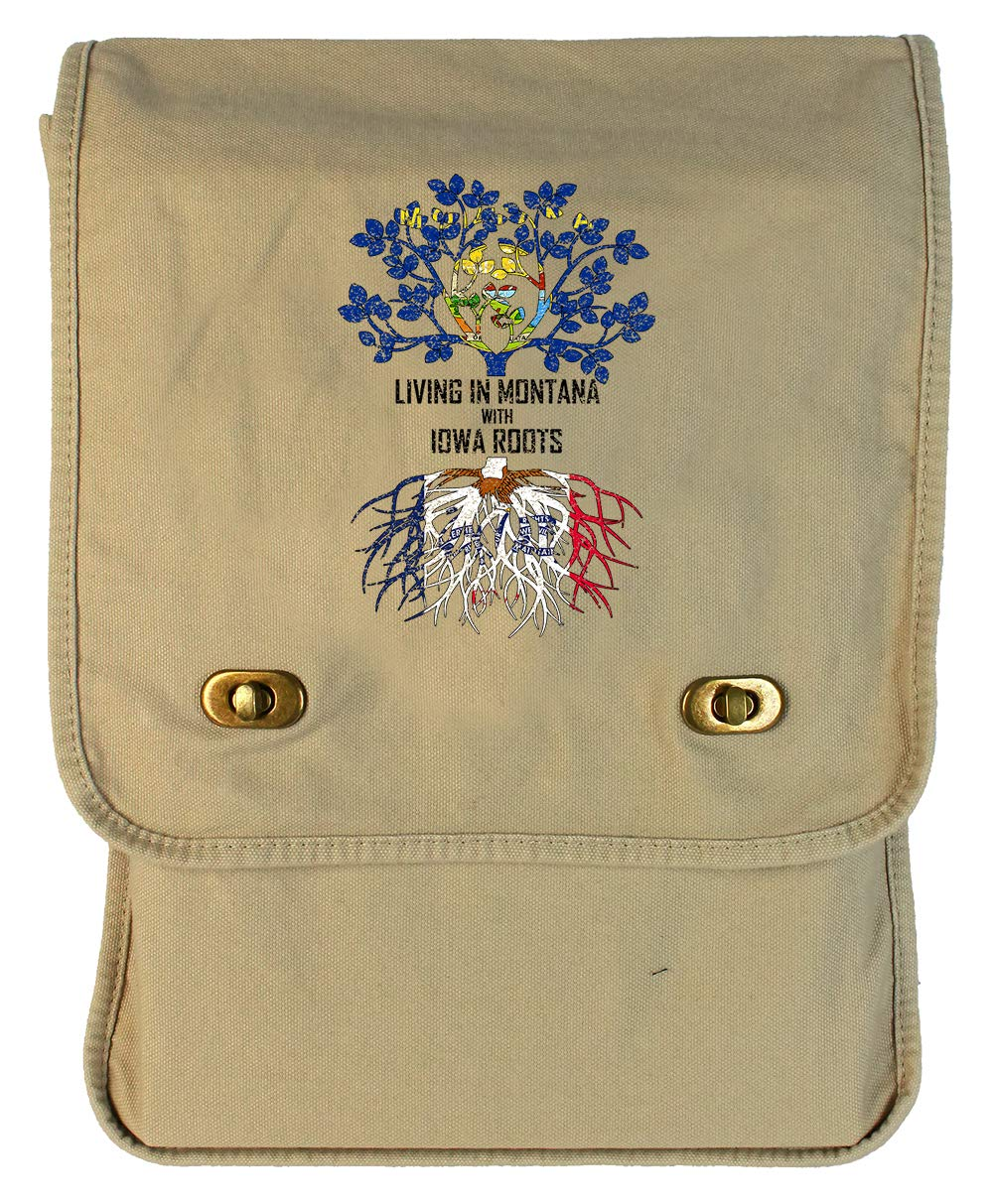 Tenacitee Living In Montana with Iowa Roots Grey Brushed Canvas Messenger Bag