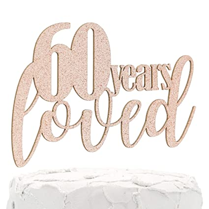Premium Quality Made in USA 60 /& Fabulous Double Sided Glitter NANASUKO 60th Birthday Cake Topper