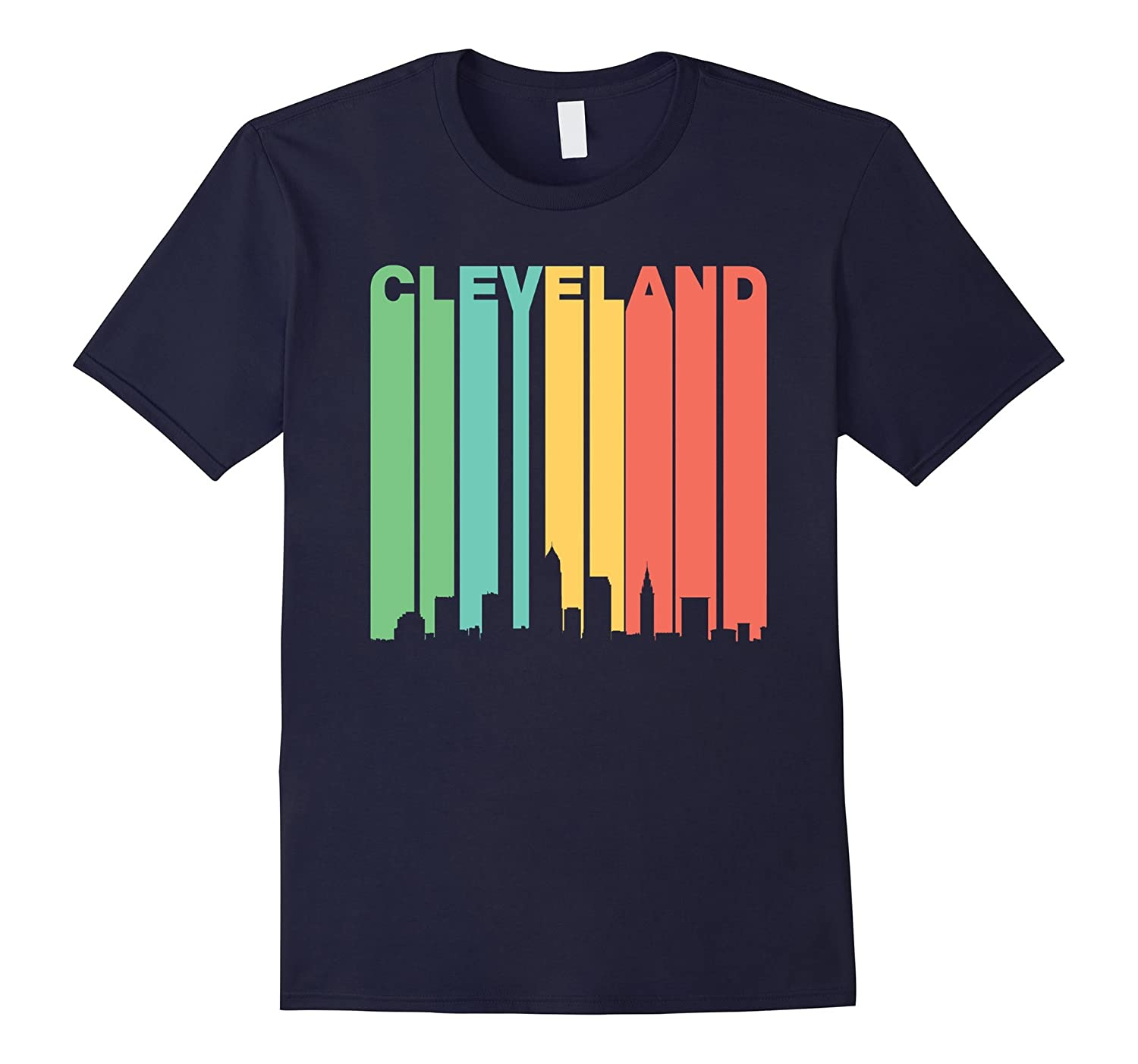 Retro 1970s Cleveland Ohio Cityscape Downtown Skyline Shirt-RT