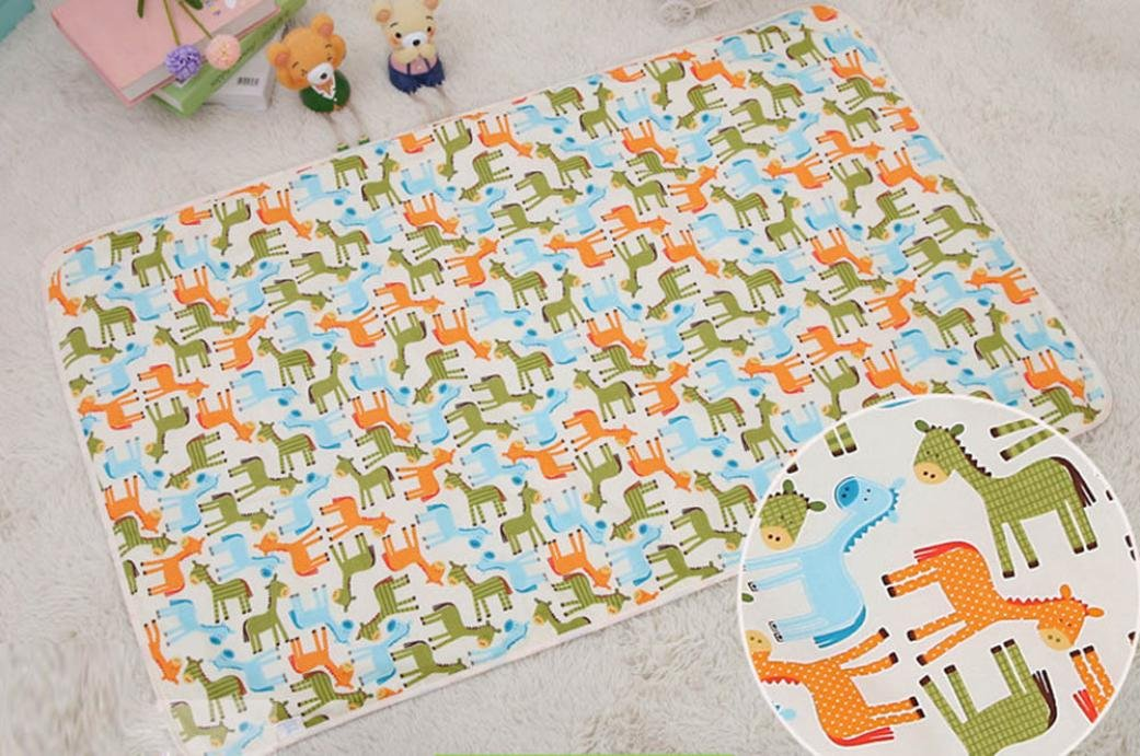 ❤️ Waterproof Pad, Newborn Baby Boy Girl 3 Layer Cotton Mat Cut Animal Mat 29.5''x47.2'' (Free Size, Color A)