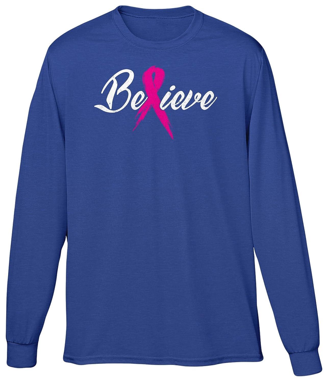 Blittzen Mens Long Sleeve T-shirt Breast Cancer - Believe