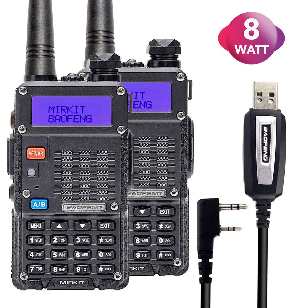 2PCs Baofeng Radios UV-5R MK5 8 Watt MP Max Power 2019 1800 mAh Li-ion Battery with Programming Cable Compatible for Baofeng Two Way Amateur Ham Radio Walkie Talkie, Mirkit Edition by Mirkit