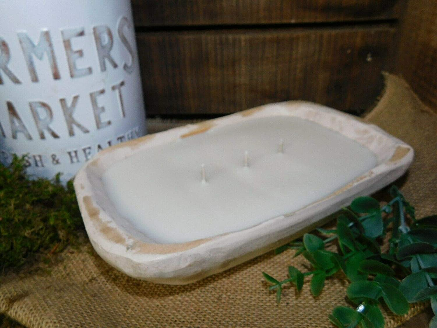 Carved Wooden Dough Bowl Soy Wax Candle Scented APPLE BOURBON Wood Trencher