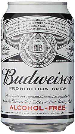 Budweiser Prohibition Alcohol Free Beer, 330 ml, Case of 24x Can