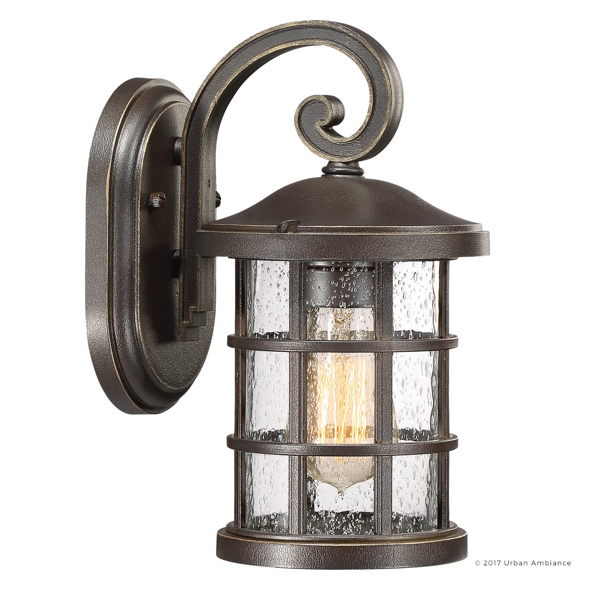 Luxury Craftsman Outdoor Wall Light, Small Size: 11'' H x 6'' W, with Tudor Style Elements, Wrought Iron Design, Oil Rubbed Parisian Bronze Finish and Seeded Glass, UQL1041 by Urban Ambiance by Urban Ambiance (Image #8)