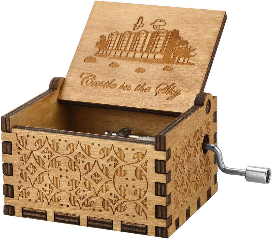 Caja de música con mecanismo clásico,caja de música con manivela de madera Antigua caja decorativa tallada Regalo para niños Amigos Familia Juguete musical Decoración del hogar (Castle in the Sky): Amazon.es: Hogar