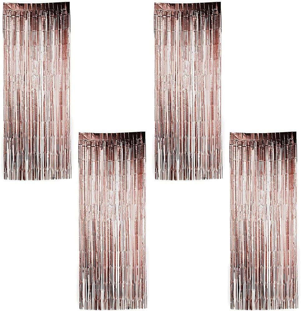 Rose Gold Foil Fringe Curtains, Metallic Tinsel Party Decor (35 x 94 in, 4 Pack)