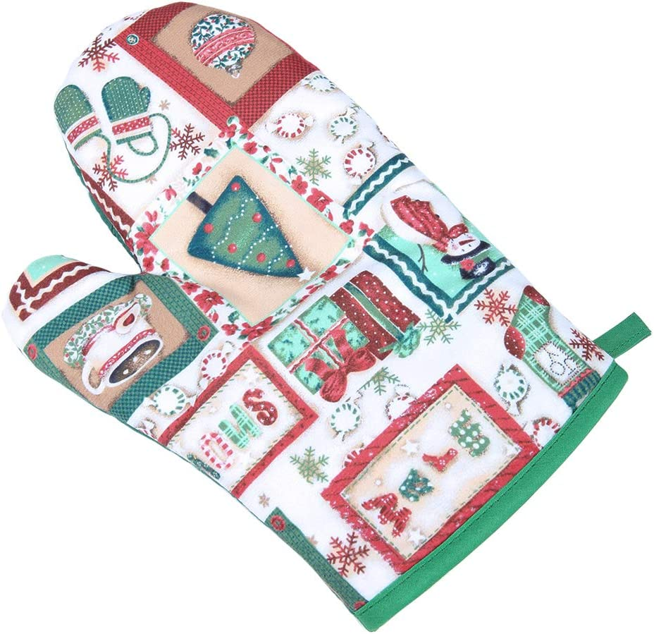 Ryncoco A Oven Mitts, Christmas Fun Design, A Oven Mitts Heat Resistant, Made of 100% Cotton Oven Mitt Machine Washable, Kitchen Red Oven Mitt