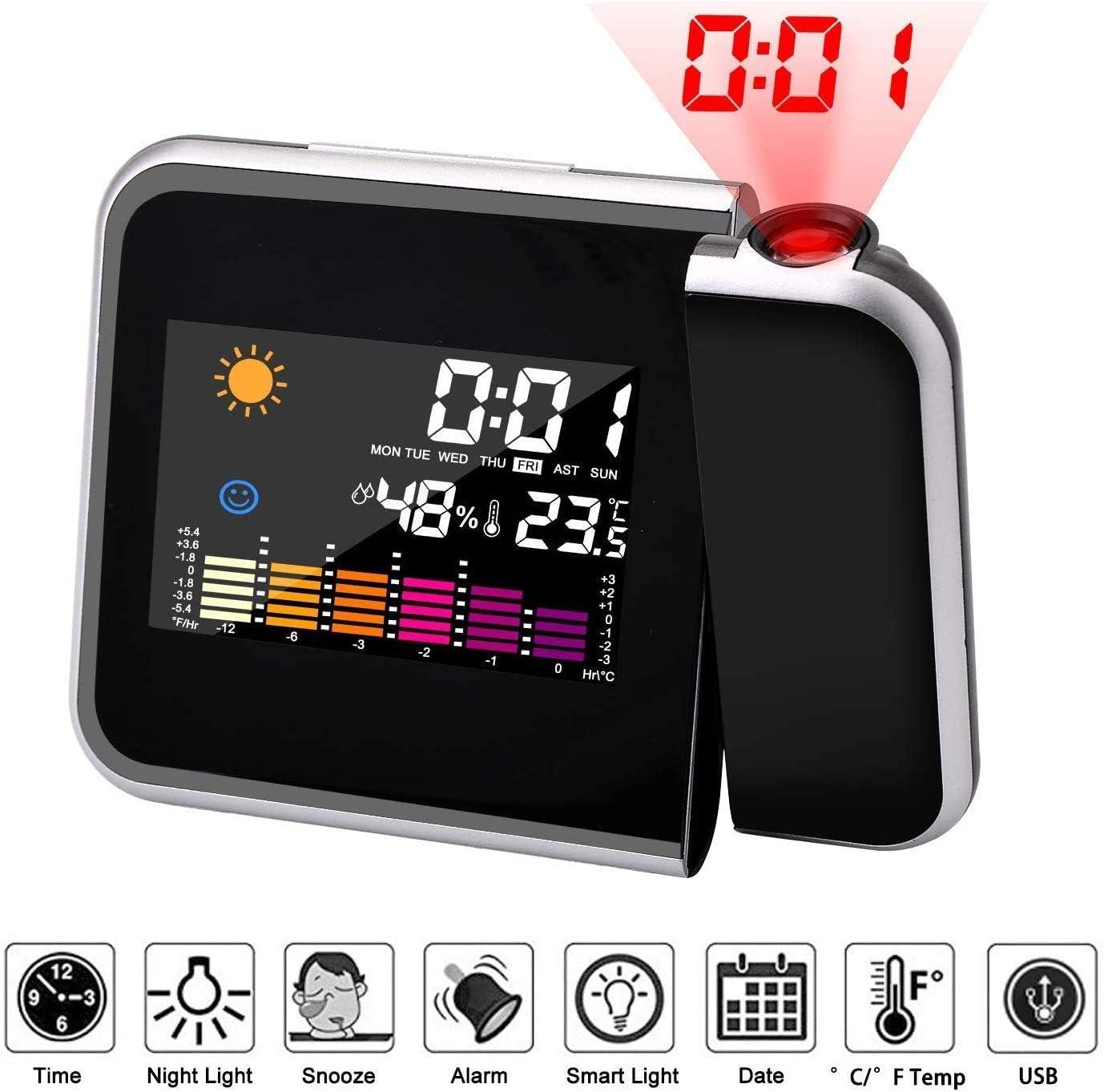 Mmester Reloj de proyección Digital,LED Alarma, Reloj Modern Reloj Despertador Colourful Pantalla LCD Estación USB Meteorológica Termómetro Higrómetro Funciones de Repetición