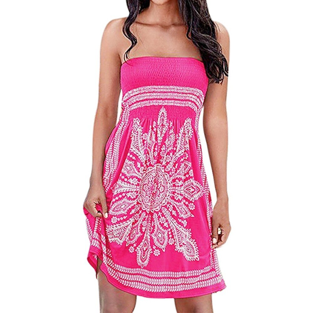 Kaitobe Women's Dresses Strapless Floral Print Mini Dresses Swing A-Line Dress Beach Sundress Evening Party Cocktail Hot Pink