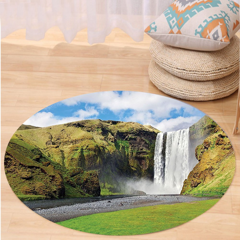 VROSELV Custom carpetNatural Waterfall Decor Collection Waterfall Flowing Over High Cliffs Northern America Scenic Nature Photo Bedroom Living Room Dorm Green Blue White Round 79 inches