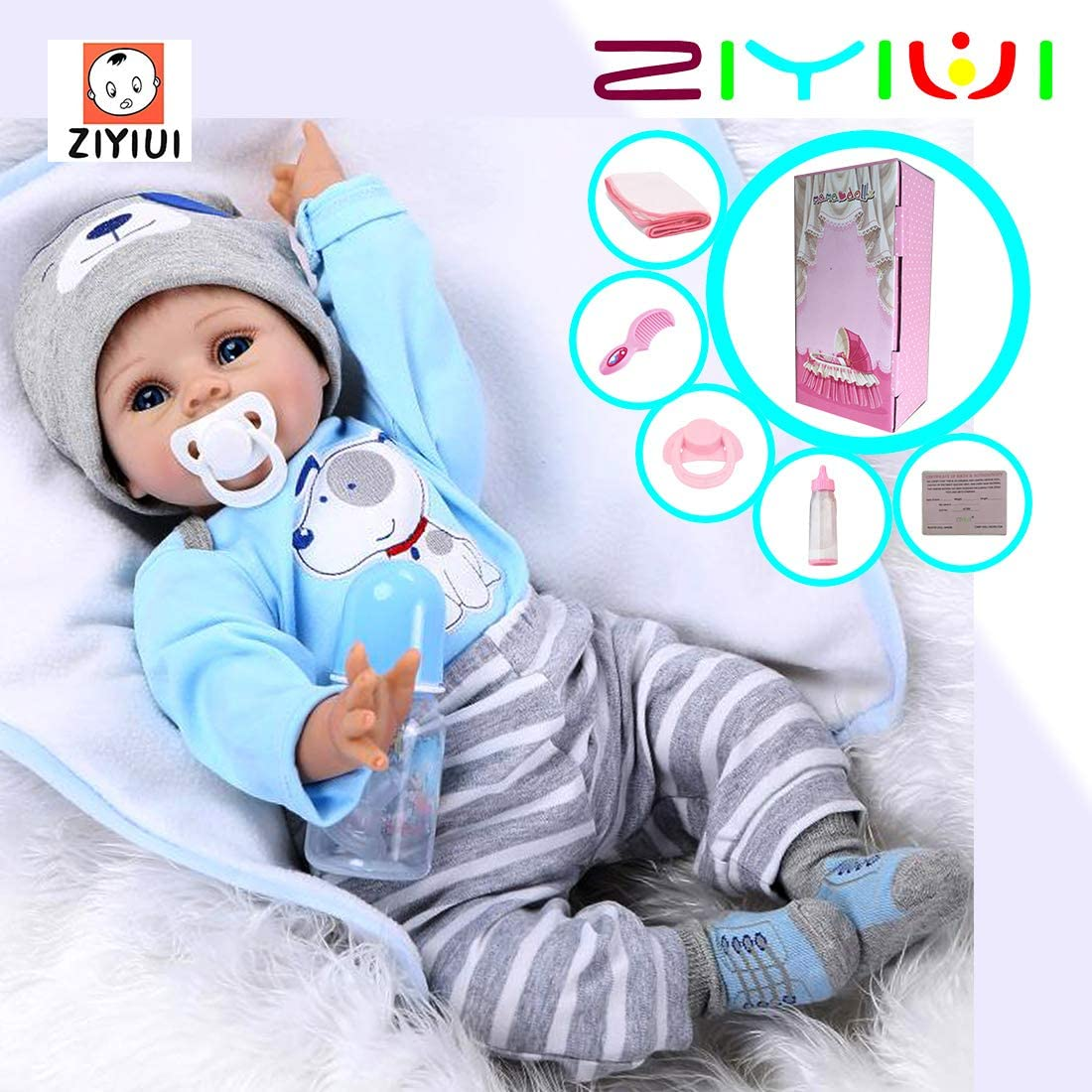 ZIYIUI Tiny treasures Toddler 22inches 55cm reborn doll Newborn baby doll Soft silicone vinyl Realistic doll Best xmas gift Reborn baby doll