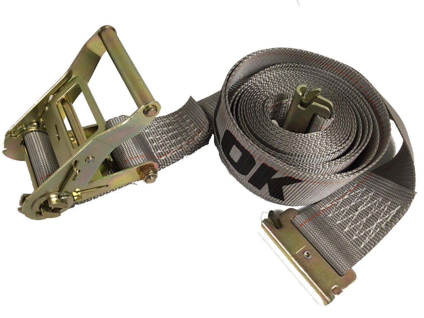 SECULOK 15PCS 2'' x16' Ratchet E Track Strap w/E&A Spring Fittings
