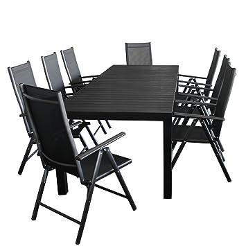 9tlg Gartengarnitur Gartenmöbel Set Ausziehtisch 204/274x100cm Gartentisch  Mit Aluminiumrahmen Und Polywood Tischplatte In Grau