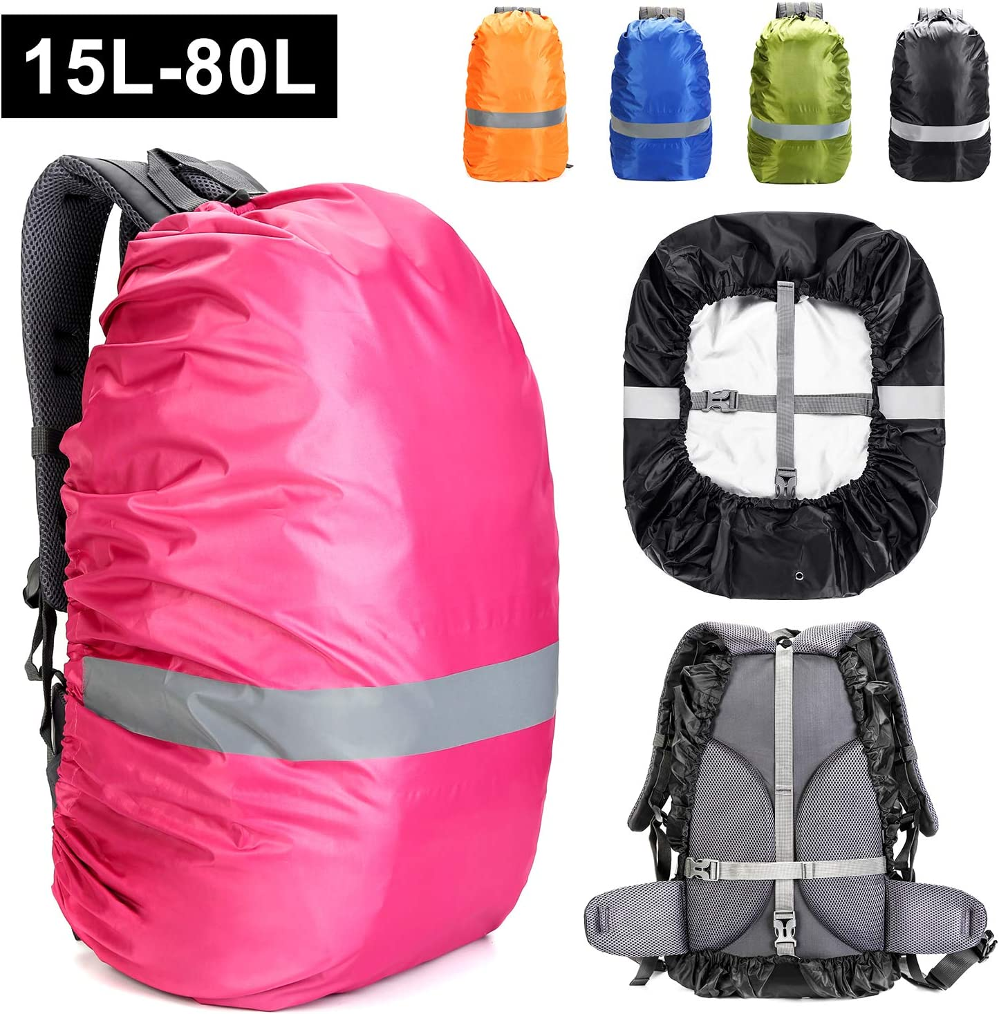 AmHoo Waterproof Backpack Rain Cover(15 80L),Reflective Strip Design,with Anti Slip Cross Buckle Strap,Upgraded Sliver Coating Reinforced Inner Layer