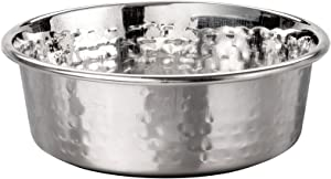 Neater Pet Brands Hammered Stainless Steel Pet Bowl - Decorative Designer Stylish Dog & Cat Dish (Small)