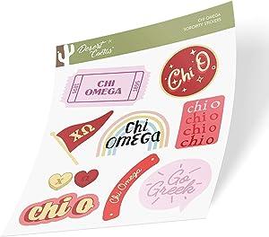 Chi Omega Sticker Decal Laptop Water Bottle Car (Cute Sheet)
