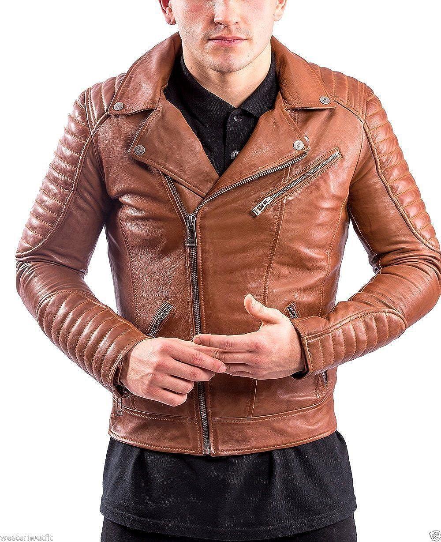 Travel Hide Mens Leather Jacket Motorcycle Genuine Lambskin Biker Jacket TM031