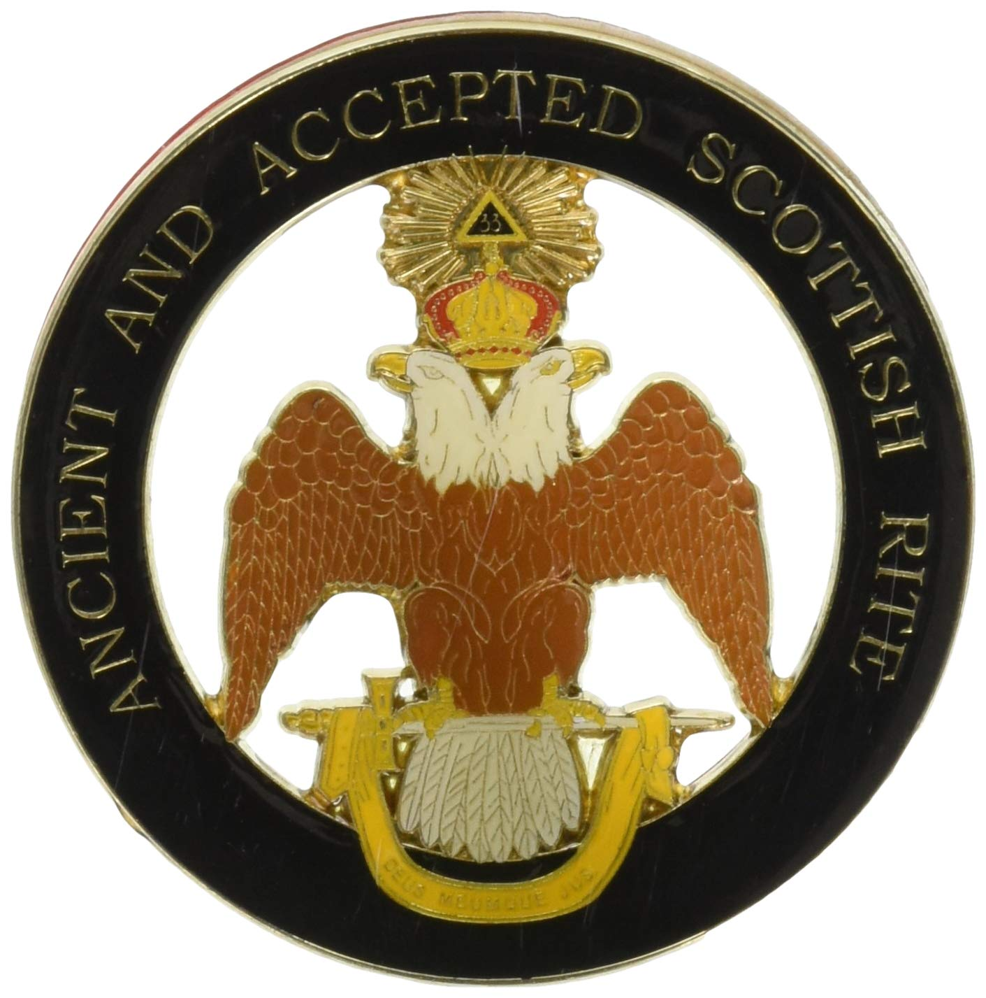 Wings Down 33rd Degree Double Headed Eagle 3 Diameter The Masonic Exchange TME-EMB-00066 Ancient /& Accepted Scottish Rite Round Black Masonic Auto Emblem