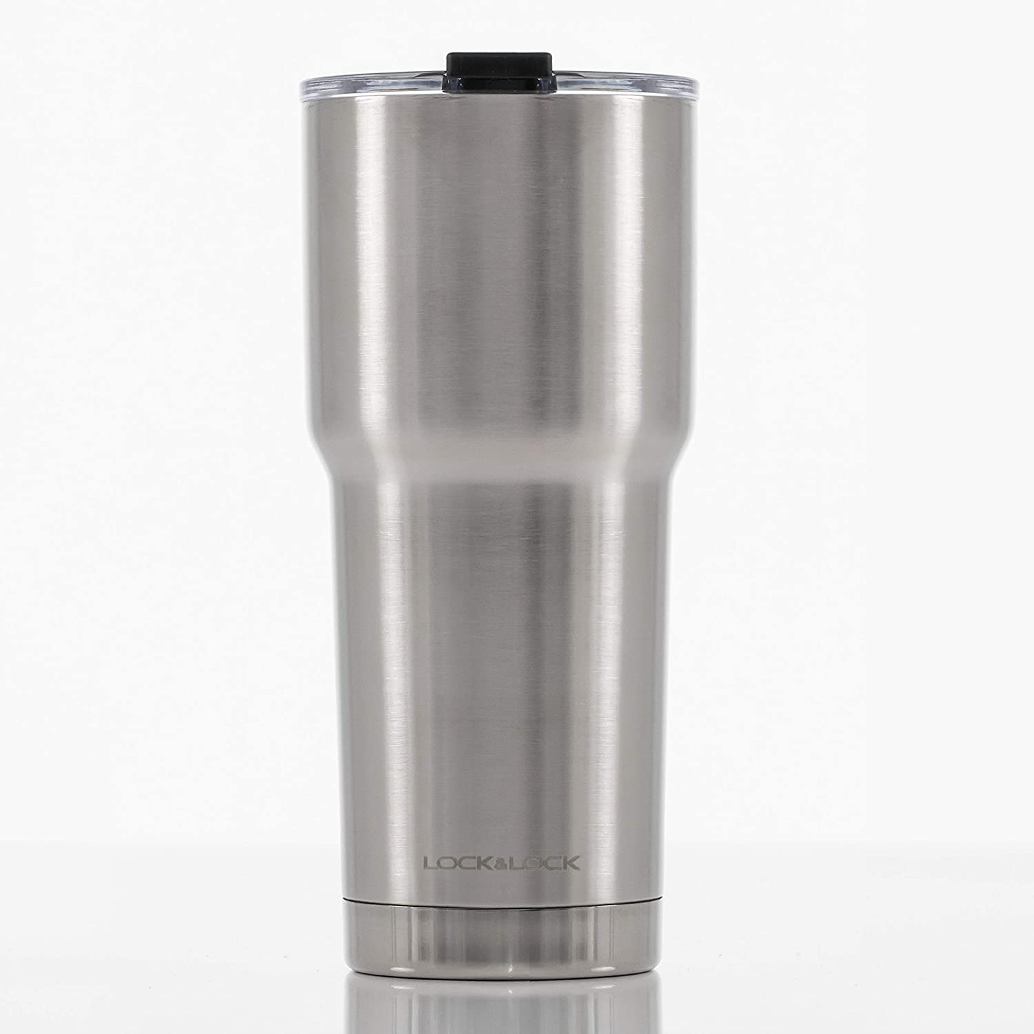 LOCK & LOCK Stainless Steel Double Wall Vacuum Insulated BPA-Free Non Toxic Travel Mug for Cold Drinks and Hot Beverages, 24oz, Brushed Aluminum