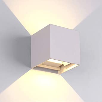 tvfly LED Apliques de Pared Modernos en Acero, Lámparas Exterior Impermeable IP65 para Dormitorios, Salón, Comedor Jardín, 12W, Blanco: Amazon.es: Iluminación