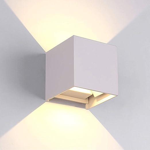 LED Apliques De Pared Modernos En Acero, Impermeable IP65 Lamparas para Dormitorios, Salon, Comedor Jardín De Lluminación de Exterior y Interior (Blanco 7W): Amazon.es: Iluminación