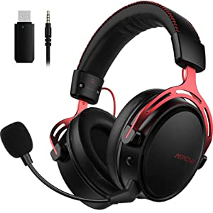 Mpow Air I Wireless Gaming Headset - PS4 Headset with Double Chamber Drivers, Detachable Noise Cancelling Microphone, Memory Foam Gaming Headphones