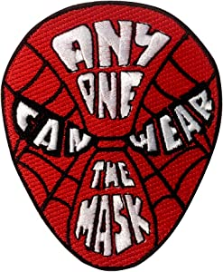 Anyone Can Wear The Mask Red Hero Parody Design - Iron on Embroidered Patch Applique