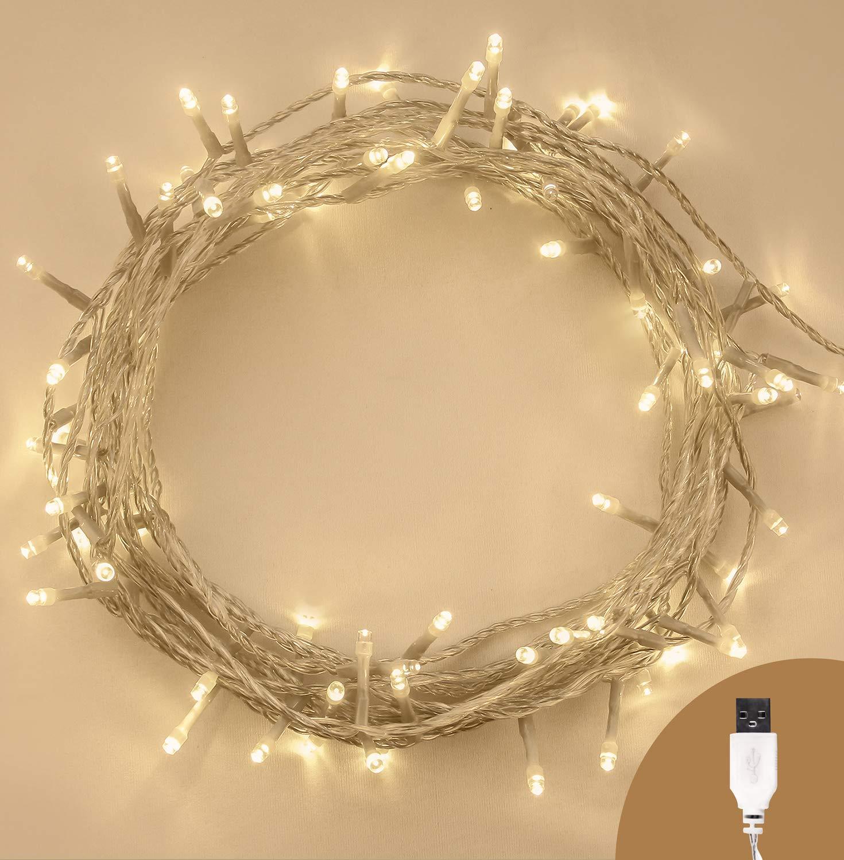 Weihnachts-Lichterketten 100 LED warme weiß e Baum-Lichter Innen- und im Freiengebrauch Weihnachtsschnur-Lichter Netzbetriebene feenhafte Lichter 10m / 33ft Lit-Lä nge - KLARES KABEL ANSIO ANSIO 2501