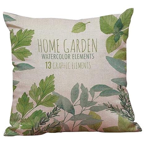 Symboat hojas verdes funda de cojín funda de cojín plantas tropicales Home Decor almohadas funda de almohada decorativa