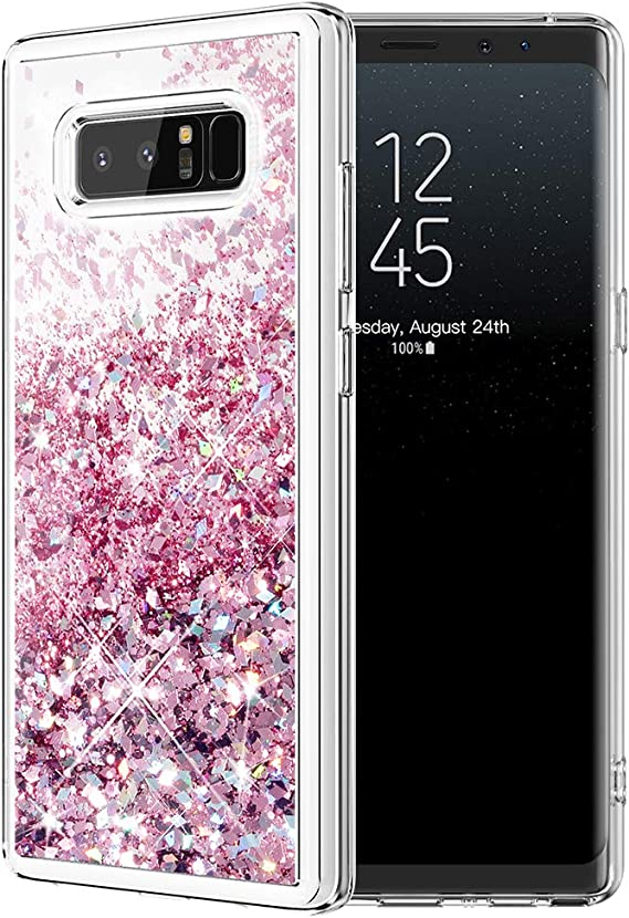 Galaxy Note 8 Case Caka Galaxy Note 8 Glitter Case Girls Luxury Fashion Bling Flowing Liquid Floating Sparkle Glitter Cute Soft Tpu Case For Samsung Galaxy Note 8 Rose Gold Amazon Ca Cell