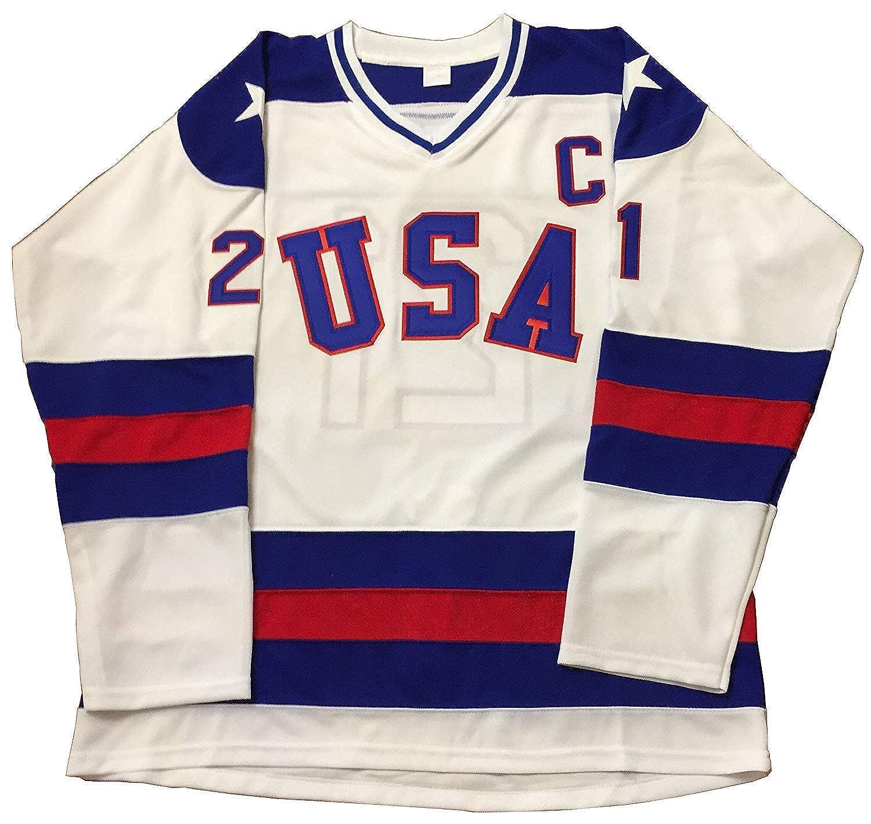 Mike Eruzione #21 1980 Miracle On Ice USA Hockey Christmas Jersey