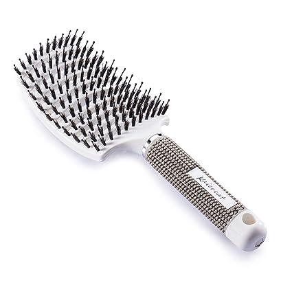 Kaiercat Cepillo de cerdas de jabalí. mejor en desenredar cabello grueso ventilado para un secado