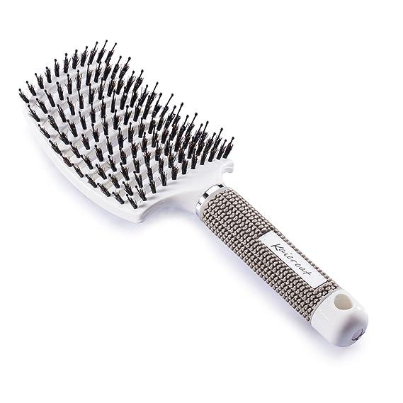 Cepillo Kaiercat de cerdas de jabalí. El mejor en desenredar cabello grueso, ventilado para un secado más rápido; con cerdas de jabalí 100% naturales para la distribución del aceite en el cabello (Blanco)