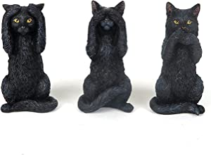 3 Wise Black Kittens Cat - Hear, Speak, See No Evil - Figurine Miniature 3.75