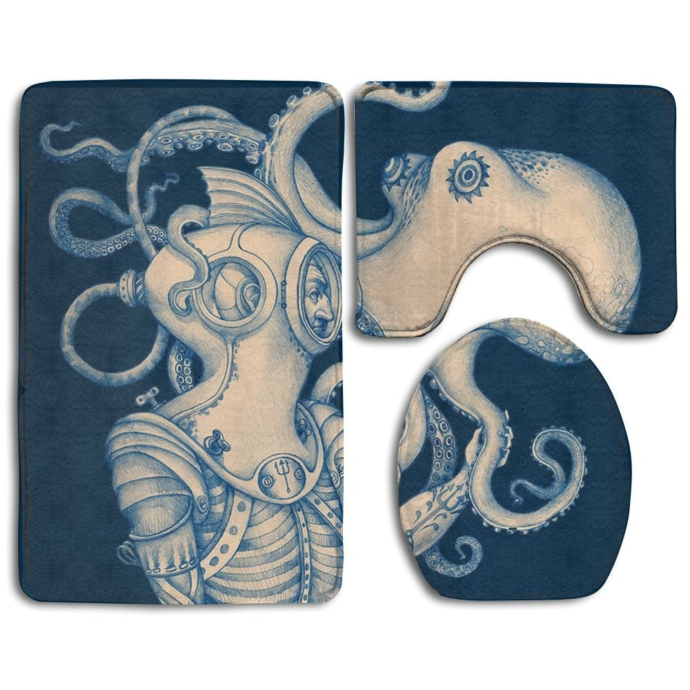 Octopus Ocean Animal 3 Piece Bathroom Rug Mat Set Soft Memory Foam Bath Carpet Contour Rug With Lid Cover