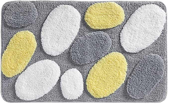 Idesign Pebblz Microfiber Polyester Bath Mat Non Slip Shower Accent Rug For Master Guest And Kids Bathroom Entryway 34 X 21 Yellow And Gray Home Kitchen Amazon Com